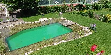 Gîte La Jument Verte La piscine naturelle et le tennis