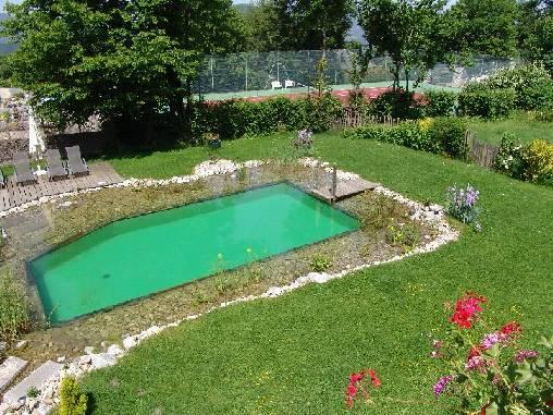 La piscine naturelle et le tennis