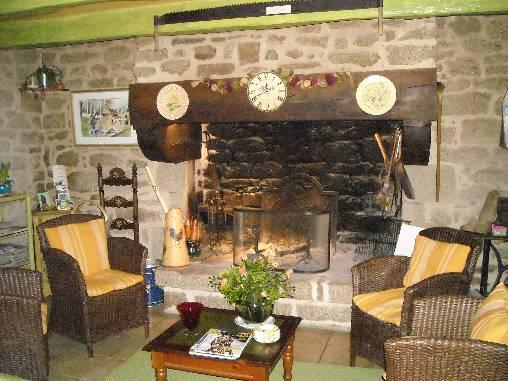 Chambre d'hote Finistère - salon Cheminée
