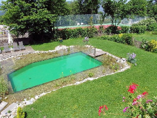 La piscine naturelle et le tennis