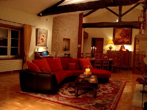 bed & breakfast Saône-et-Loire - The livingroom with fireplace