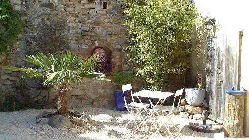 le coin zen, fontaine et bambous