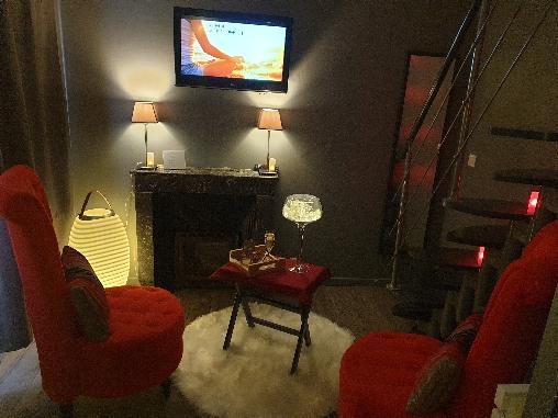 Salon avec cheminée de la suite Zen