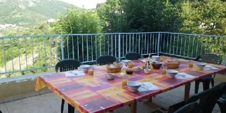 Le Volcan d'Aizac Petit déjeuner sur la terrasse!
