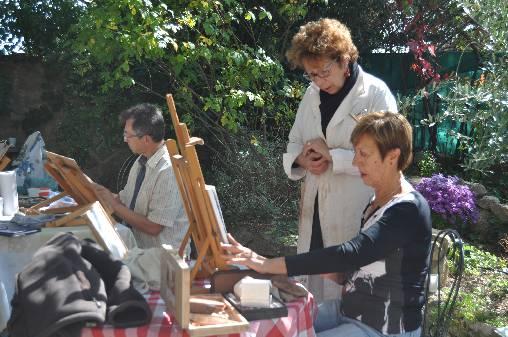Cours de pastel dans les jardins de la Maison du Séminaire