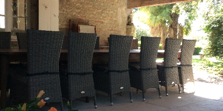 Chambre d'hotes Le Manoir en Agenais > table d'hôtes à l'ombre l'été