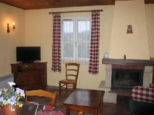 salon avec cheminée, canapé et télé