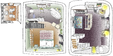 Suite du village d'Eze Map of the suite 3 levels