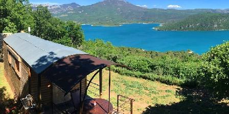 Ferme Para Loù Roulotte Climatisée pour 2 personnes vue lac de sainte croix(04)