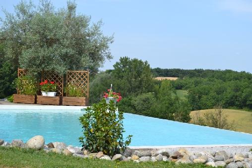 Chambre d'hote Tarn-et-Garonne - La piscine face au vallon