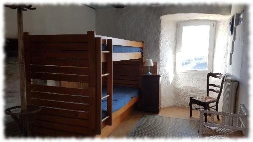 Chambre d'hote Lozère - Suite Sud lits superposés de l'Oustaou