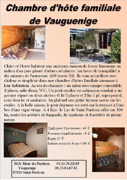 Chambre D'hôte de Vauguenige, Chambres d`Hôtes Saint Pardoux (87)