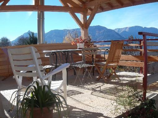 Chambre d'hote Hautes Alpes - TERRASSE COUVERTE AU SUD