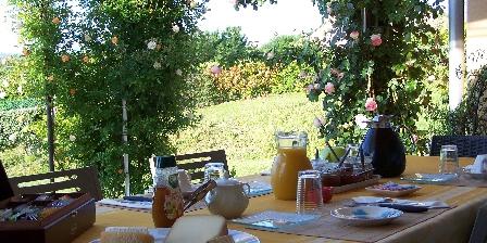 Aux 4 Saisons Breakfast on the shaded terrace, in Ariège Pyrénées France