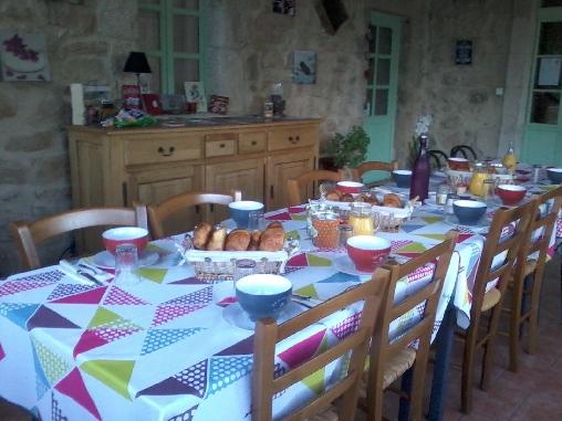 Chambre d'hote Ardèche - Table petit-déjeuner. Les Perles de Aime