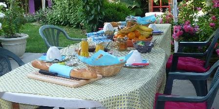 Le Patio d'Eric Chambres d'Hôtes Petit déjeuner en été