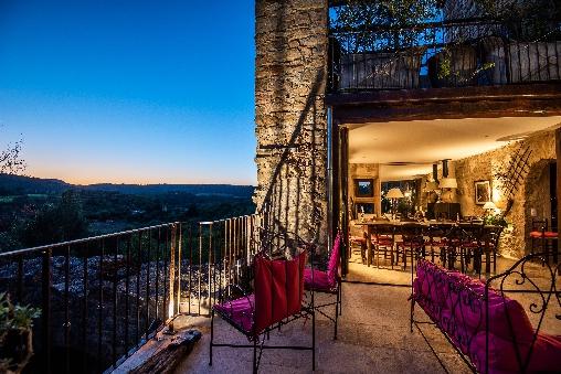 terrasse et vue maison le four à pain - le roc sur l'orbieu-loca