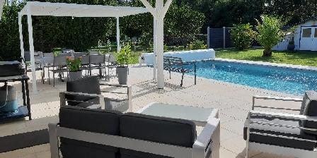 Location Saisonnière Martine Pujols en Gironde Vue sur piscine
