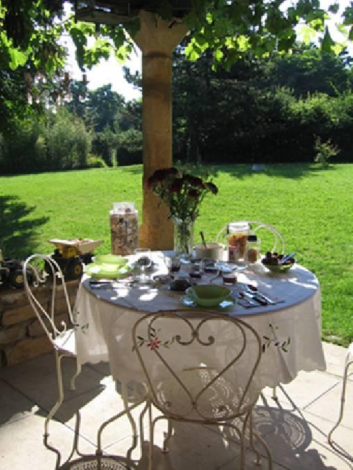 Chambre d'hote Rhône - Le petit déjeuner au soleil