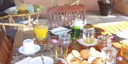 Bed and breakfast Les Mayombes > Le petit déjeuner sous le patio devant la piscine