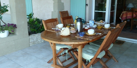 Chambre d'hotes Le Petit Chantuzet > Petit déjeuner sur la terrasse